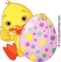 Easter Duckling gives thumbs up - Illustration of Easter...