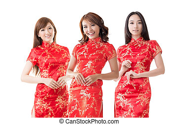 Chinese women at new year - Group of Chinese women dress...