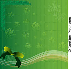 Christmas green background light and snowflakes background