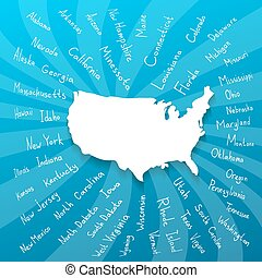 Freehand USA states vector illustration - Hand drawn USA map...