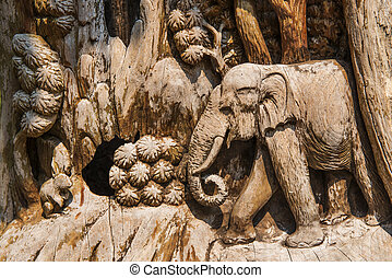 Hand Carved Elephant Wood Craft ,Thailand