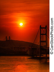 Sunset of Tsing Ma Bridge in Hong Kong