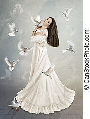 White doves - The young girl with long hair in white dress,...