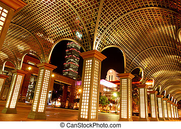 Taipei night scene - Taipei street night scene with...