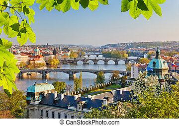 Prague at sunset - View on Vltava river and Prague at sunset