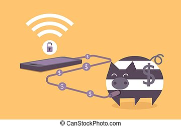 mobile phone crime concept of thief stealing money when...