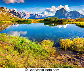 Summer sunny morning on the Sassolungo and Sella group,...