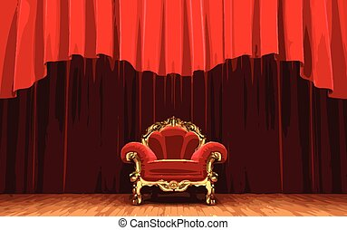 vector chair on red curtain stage