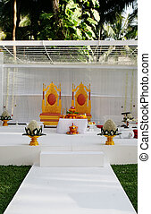 Indian wedding. - Luxurious setting at a traditional Indian...