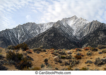 Snow capped Mount Whitney Peak in DeathValley, California