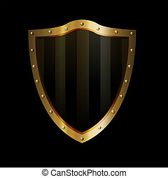 Gold riveted shield on black background.