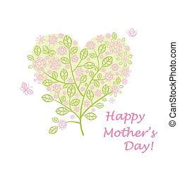 Greeting for mothers day with beautiful spring lacy tree