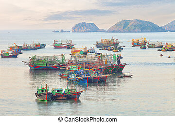 Dreamy seascape with authentic colourful boats - Traditional...