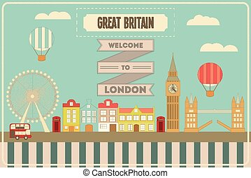 London English Postcard with British theme Vector...