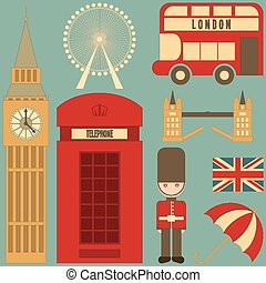 London English Icons Set with British theme Vector...