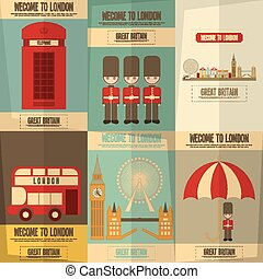 London English Posters Collection with British theme Vector...