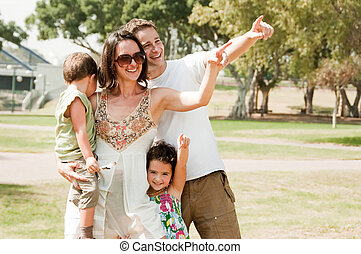 Happy family see Something