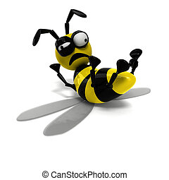 3D bee - isolated background 3D died bee
