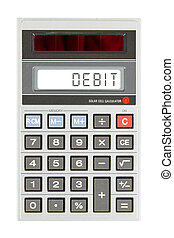 Old calculator - debit - Old calculator showing a text on...