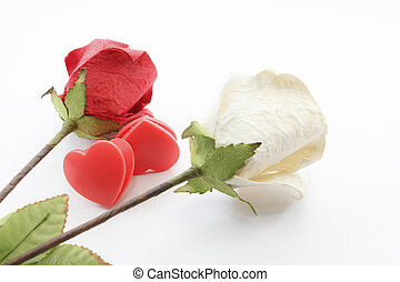 Paper rose and heart - Paper rose and two heart on white...
