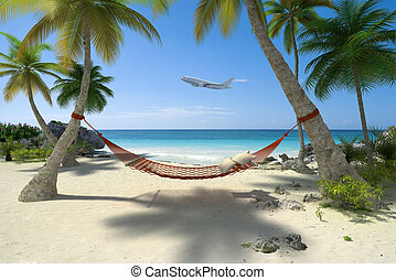 Tropical destination - Exotic travel composition with a...