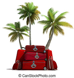 Tropical trip and red luggage - Island like composition...