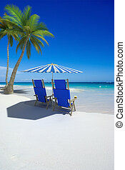 Vacation for two - Tropical beach with sunshade and a pair...