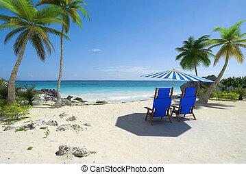 Beach holidays for two - Tropical beach with sunshade and a...