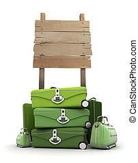 Baggage by wooden sign - Pile of luggage by a wooden sign
