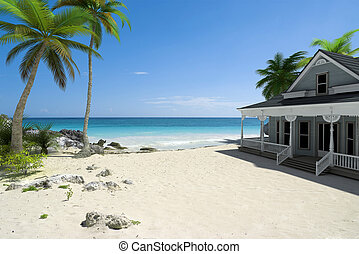 House on the beach - 3D rendering of a white colonial house...