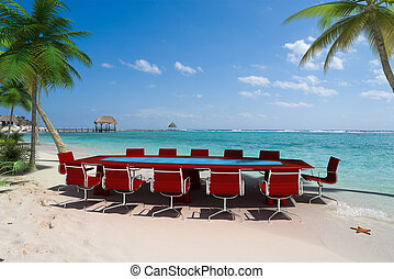 empresa / negocio, reunión, en, tropical, recurso,
