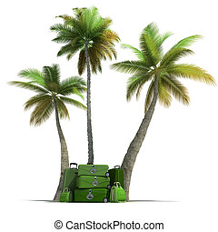Tropical trip and elegant green luggage - Island like...