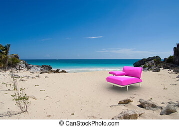Pink designer seat in tropical beach - 3D rendering of a...