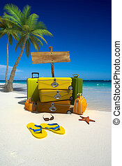 Luggage on the beach - Yellow luggage, hanging hammock,...