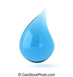 Single blue liquid drop 3D render illustration isolated on...