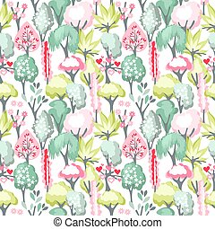 Seamless pattern with blossoming trees - Seamless pattern...