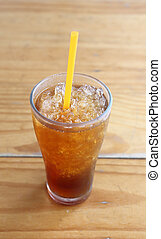 Ice tea on wood table