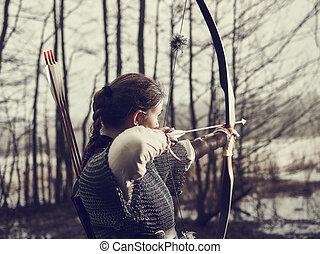 medieval, tiro com arco, mulher, disparar,