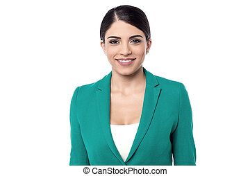 Business woman posing over white - Smiling female executive...