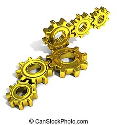 Stacks of metal gear wheels, 3D concept, isolated on white...