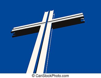 Vector drawing of a cross with shadows against a blue...