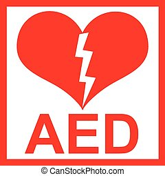 Vector of a red AED Sticker with heart shape and lightning