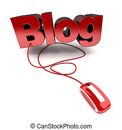 Online Blog - Red and white 3D illustration of the word Blog...