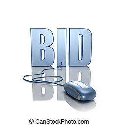 Bid in Internet - 3D rendering of the word BID connected to...