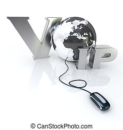 VOIP - 3D rendering of the word VOIP and the Earth connected...