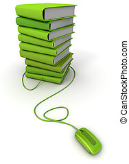 Green e-books - 3D rendering of a pile of green books...