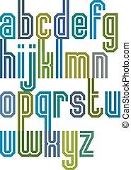 Double line geometric font, retro