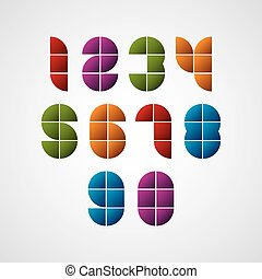 Geometric modern style numbers made with squares, vector set...