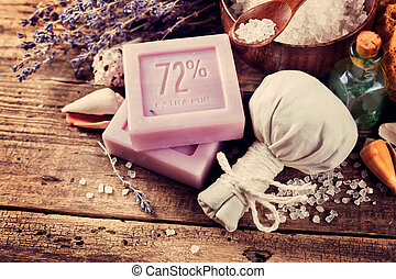 CPA concept, lavender soap on an old wooden table