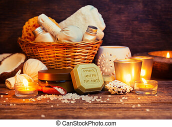 CPA still life, olive oil soap, candles, sea salt and body...